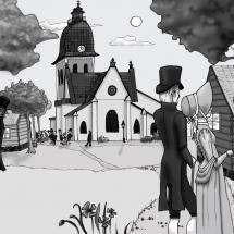 Folket samlas till möte i Nikolaikyrkan vid 1810 års rikstag